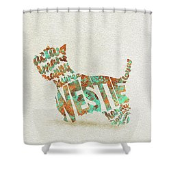 Shower Curtain featuring the painting The West Highland White Terrier Watercolor Painting / Typographic Art by Inspirowl Design