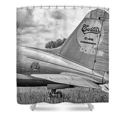 The Whale 3 - Bw Shower Curtain