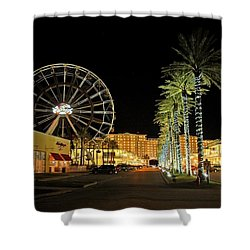 The Wharf At Night  Shower Curtain by Michael Thomas