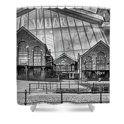 The Wharf Cardiff Bay Mono Shower Curtain by Steve Purnell