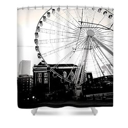 The Wheel Black And White Shower Curtain