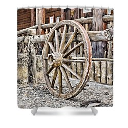 The Wheel Rolls On Shower Curtain by B Wayne Mullins