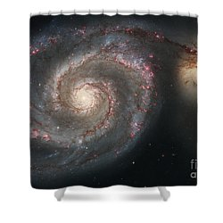 The Whirlpool Galaxy M51 And Companion Shower Curtain by Stocktrek Images