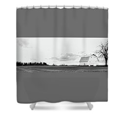 The White Barn Shower Curtain by Rebecca Cozart
