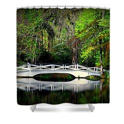 The White Bridge In Magnolia Gardens Sc Shower Curtain