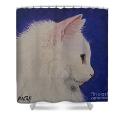 Shower Curtain featuring the painting The White Cat by Jindra Noewi