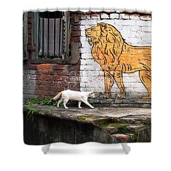 The White Cat Shower Curtain by Marji Lang