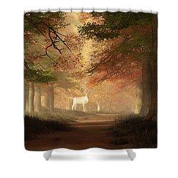The White Elk Shower Curtain by Daniel Eskridge