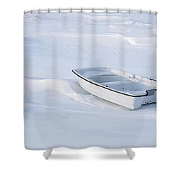 The White Fishing Boat Shower Curtain