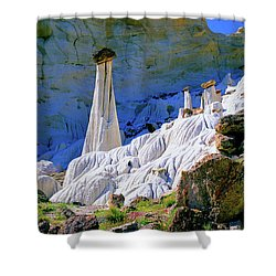 The White Hoodoos Shower Curtain