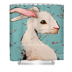 The White Rabbit Shower Curtain by Lucia Stewart
