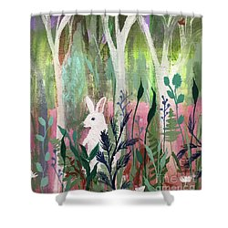 Shower Curtain featuring the painting The White Rabbit by Robin Maria Pedrero