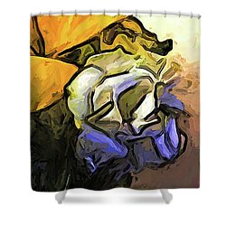 The White Rose And The Yellow Petals Shower Curtain