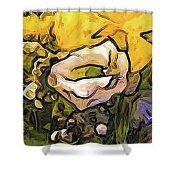 The White Rose With The Eye And Gold Petals Shower Curtain