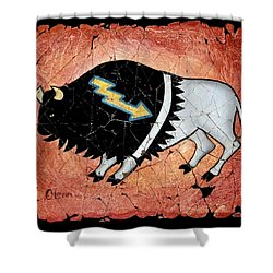 The White Sacred Buffalo Fresco Shower Curtain