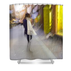 The White Scarf Shower Curtain