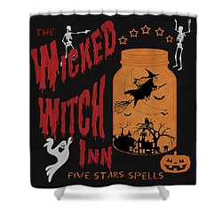 Shower Curtain featuring the painting The Wicked Witch Inn by Georgeta Blanaru