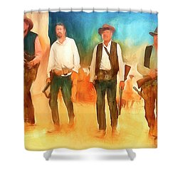 Shower Curtain featuring the painting The Wild Bunch by Michael Cleere