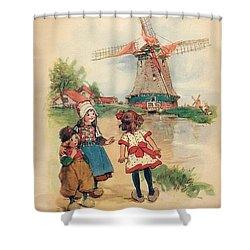The Windmill And The Little Wooden Shoes Shower Curtain