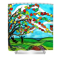 The Windy Tree Shower Curtain by Genevieve Esson