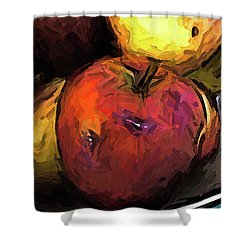 The Wine Apple With The Gold Apples Shower Curtain