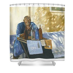 Shower Curtain featuring the painting The Wineseller by Marlene Book