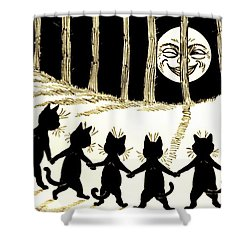 The Wink Six Black Pussy Cats Shower Curtain