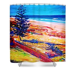 Shower Curtain featuring the painting The Winter Dunes by Winsome Gunning