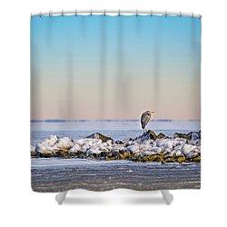 The Winter Heron Shower Curtain