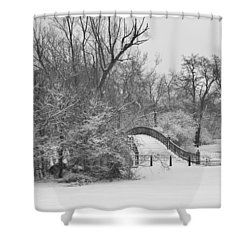 The Winter White Wedding Bridge Shower Curtain