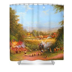 Fireworks In The Shire. Shower Curtain