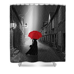 The Woman With The Red Umbrella Shower Curtain by Monika Juengling