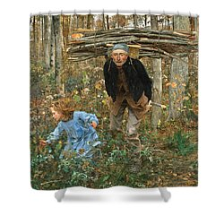 The Wood Gatherer Shower Curtain