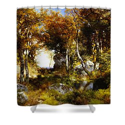 The Woodland Pool Shower Curtain by Thomas Moran