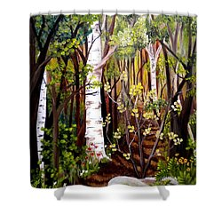 The Woodland Trail Shower Curtain by Renate Nadi Wesley