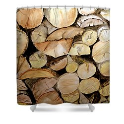 The Woodpile Shower Curtain