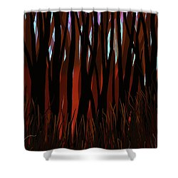 Shower Curtain featuring the digital art The Woods by Matt Lindley