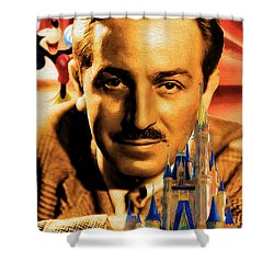 Shower Curtain featuring the painting The World Of Walt Disney by Ted Azriel