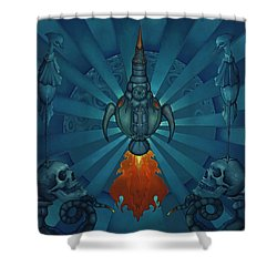 The World Owes Us Nothing, We Owe Each Other The World Shower Curtain by Andrew Batcheller