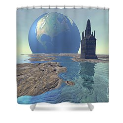 The World Turns Shower Curtain by Corey Ford