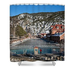 The World's Largest Hot-springs Pool At The Spa Of The Rockies In Glenwood Springs Shower Curtain