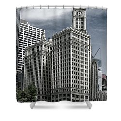 The Wrigley Building Shower Curtain by Alan Toepfer
