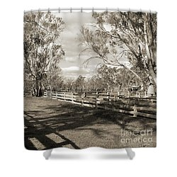 Shower Curtain featuring the photograph The Yards by Linda Lees