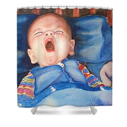 The Yawn Shower Curtain by Marilyn Jacobson