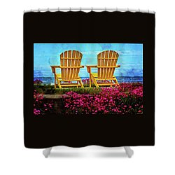 The Yellow Chairs By The Sea Shower Curtain