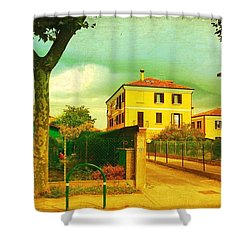 Shower Curtain featuring the photograph The Yellow House by Anne Kotan
