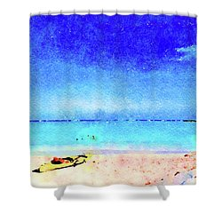 Shower Curtain featuring the painting The Yellow Kayak by Angela Treat Lyon