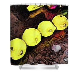 The Yellow Lemons In A Row And The Pink Apple Shower Curtain