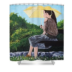 The Yellow Umbrella Shower Curtain by Reb Frost