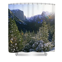 The Yosemite Valley In Winter Shower Curtain